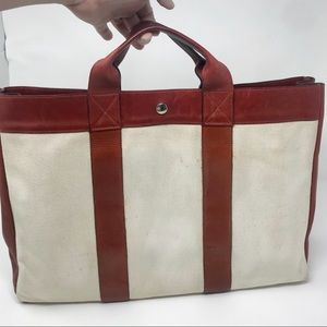Hermès Deauville Red Leather & Ivory Toile MM Tote